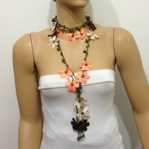 Salmon Orange,Brown,Beige Crochet Necklace - Beaded lariat - Crochet oya lace Necklace