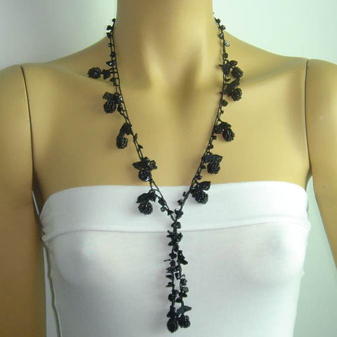 BlackBerryTied Crocheted necklace - Black Bery necklace with semi-precious ONYX stones
