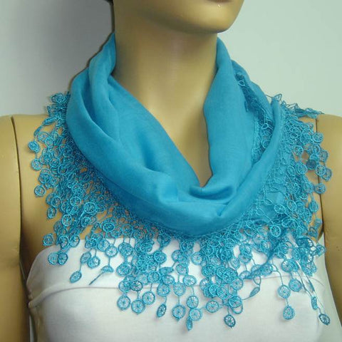 Bright Blue fringed edge scarf - Scarf with Lace Fringe