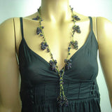 Purplish Black Grape Tied necklace