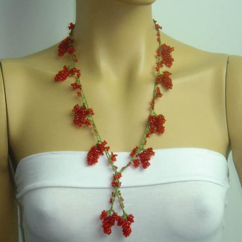 Red Grape Tied Crocheted necklace - Handmade Necklace
