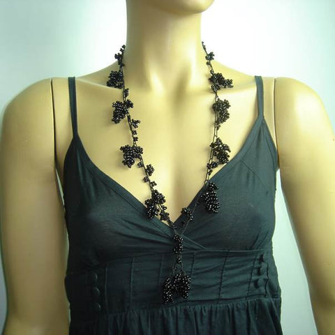Black Grape Tied Crocheted necklace - Handmade Necklace