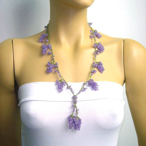 Lavender Grape Tied Crocheted necklace - Lilac Grape necklace