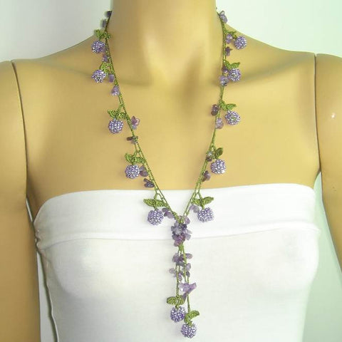 Lavender Berry Tied Crocheted necklace - Lilac Bery necklace with semi-precious Amethyst Stones