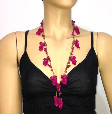 Hot Pink Grape Tied Crocheted necklace
