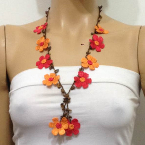 Orange and Red Tied Necklace with Tiger Eye semi-precious Stones