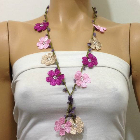 Pink and Fuschia Tied Necklace with semi-precious Amethyst Stones