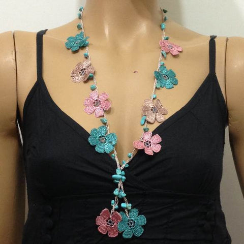Pink and Turquoise Tied Necklace with semi-precious Turquoise Stones