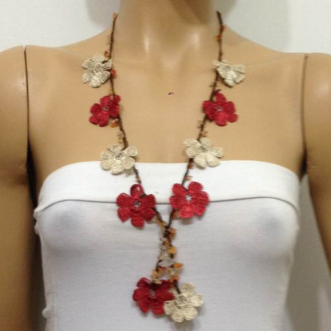 Brick red- Beige Tied Necklace with semi-precious Agate Stones