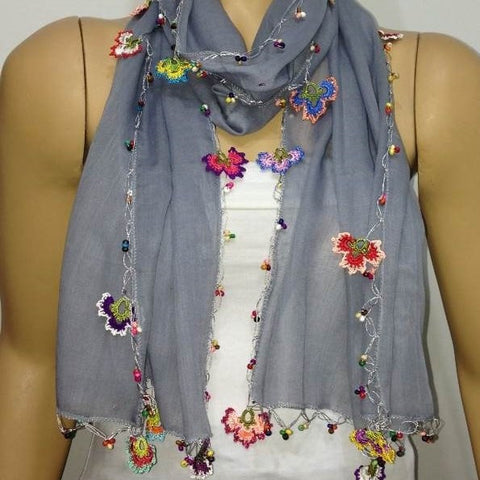 Cotton Scarf - Crocheted Light GREY scarf with handmade multi color oya flowers - GRAY Scarf - Beaded Scarf
