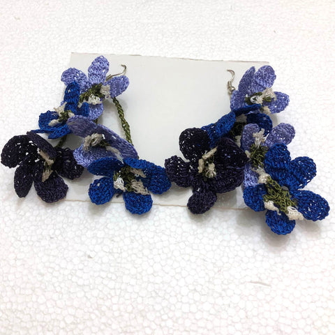 Blue and Navy Poppy Earrings