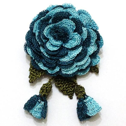 Blue and Teal Hand Crocheted Brooch - Flower Pin- Unique Turkish Lace - Brooches Jewelry - Fabric Flower Brooch