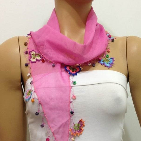 Pink Cotton Scarf with Crocheted flowers and multicolor beads