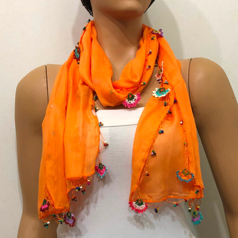 Crocheted Orange scarf with handmade multi color oya flowers - Orange Scarf - Beaded Scarf
