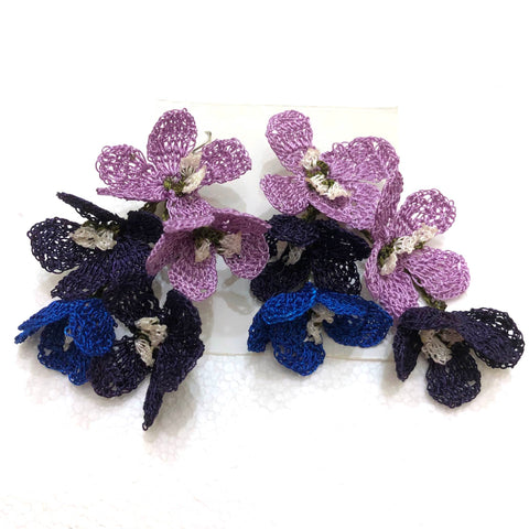 Blue and Lilac Poppy Earrings