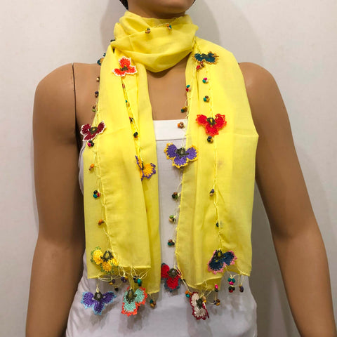 Crocheted Canary Yellow Scarf with handmade multi color oya flowers - Beaded Scarf