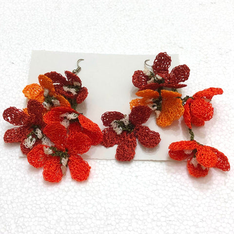 Orange and Burnt Orange Poppy Earrings