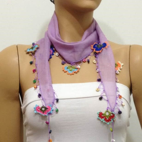 Lilac Cotton Scarf with Crocheted flowers and multicolor beads