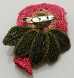 Pink Hand Crocheted Brooch - Flower Pin- Unique Turkish Lace - Brooches Jewelry - Fabric Flower Brooch