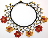 Burnt Orange and Yellow Choker Necklace with Crocheted Flower and semi precious Citrin Stones