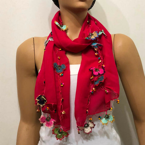 Crocheted BRIGHT Sour Cherry color scarf with handmade multi color oya flowers - Burgundy scarf - Beaded Scarf - Crochet Beaded Scarf