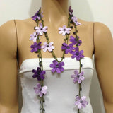 Purple and Lilac Crochet Necklace - Beaded lariat - Crochet oya lace Necklace