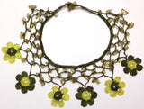 Lime Green and Yellow Choker Necklace with Crocheted Flower and semi precious green Stones