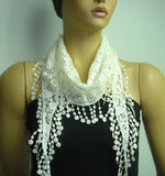 Cream WHITE Lace scarf with lace fringe - Off white Triangle Lace scarf