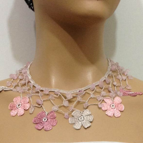 Blush Pink and Grey Choker Necklace with Crocheted Flower and semi precious Pink Quartz Stones