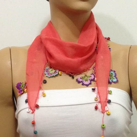 Pomegranate Pink Cotton Scarf with Crocheted flowers and multicolor beads