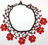 Red and Yellow Daisy Choker Necklace with Crocheted Flower and semi precious Agate Stones
