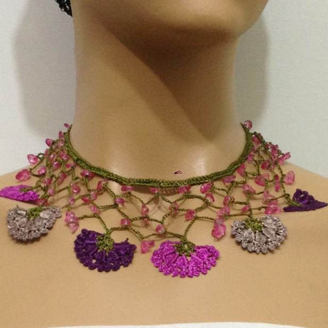 Purple,Pinkish Plum and Beige Choker Necklace with Crocheted Flower and semi precious pink Stones