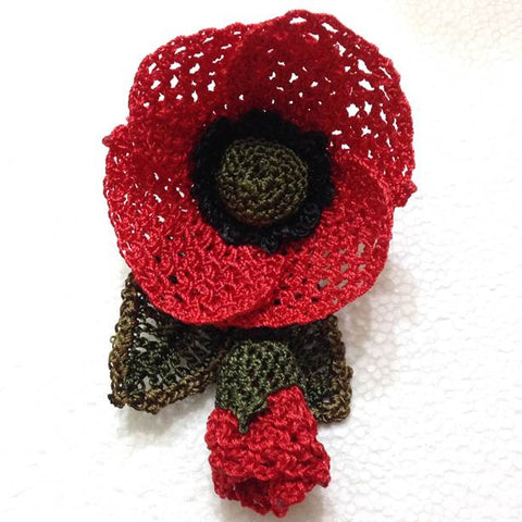 Red Poppy Hand Crocheted Brooch - Flower Pin- Unique Turkish Lace - Brooches Jewelry - Fabric Flower Brooch