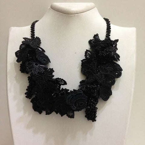 Black Bouquet Necklace with Solid Black Beads - Turkish Crochet Lace Necklace