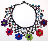 Multi-color Daisy Choker Necklace with Crocheted Flower and semi precious Mix Stones