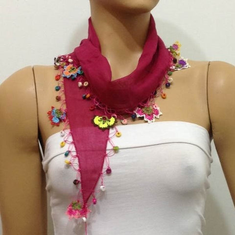 Sour Cherry Cotton Scarf with Crocheted flowers and multicolor beads