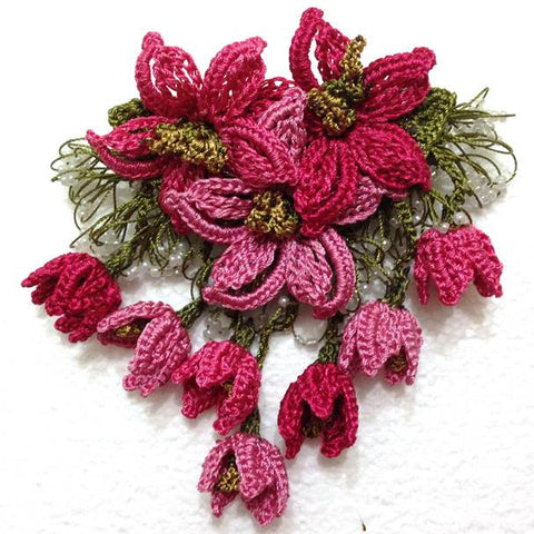 Pink brooch 3d hand crocheted flower pin unique turkish lace pink hand crochet brooch flower pin gift for mom gift for mother mightylinksfo