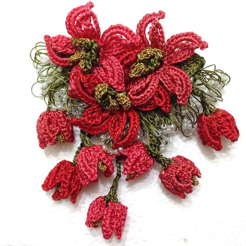 RED Hand Crochet Brooch - Flower Pin- Gift for Mom - Gift for Mother - Gift for Her - Unique Lace Brooches Jewelry - Fabric Flower Brooch