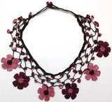 Plum and Pink Choker Necklace with Crocheted Flower and semi precious Pink Stones