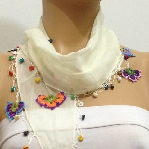 Ivory White Cotton Scarf with Crocheted flowers and multicolor beads - Off White