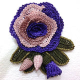Purple and Beige Hand Crocheted Brooch - Flower Pin- Unique Turkish Lace - Brooches Jewelry - Fabric Flower Brooch