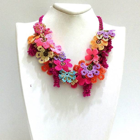 Pink,Lilac,Blue and Orange Bouquet Necklace - Crochet OYA Lace Necklace