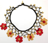 YELLOW and RED Choker Necklace with Crocheted Flower and semi precious Citrin Stones