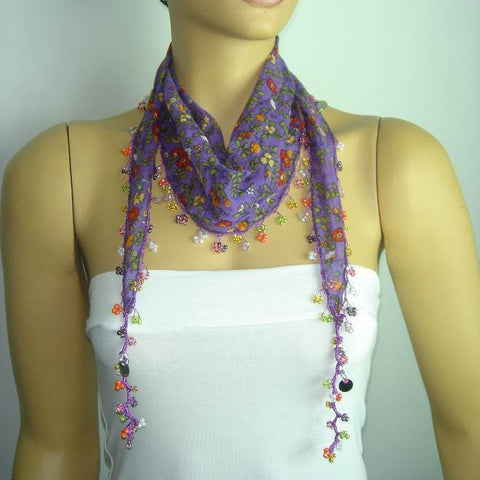 Purple Beaded Scarf Necklace with Red Flowers Printed - Handmade Crocheted Beaded Scarf - Puple scarf bandana