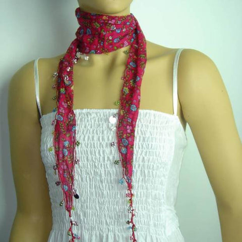 Pink Beaded Scarf Necklace with Blue Flowers Printed - Handmade Crocheted Beaded Scarf - Pink scarf bandana