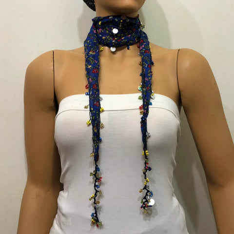 Blue Beaded Scarf Necklace with Red Flowers Printed - Handmade Crocheted Beaded Scarf - Indigo scarf bandana