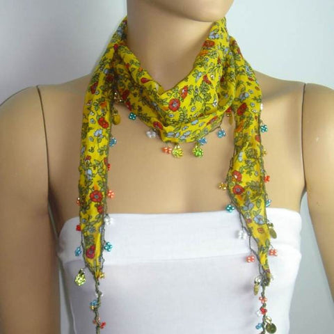 Yellow Beaded Scarf Necklace with Red Flowers Printed - Handmade Crocheted Beaded Scarf - Yellow scarf bandana