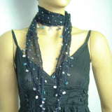 NAVY Handmade crocheted edged cotton oya scarf with sparkling spangles,shiny sequins, beads, and disks.