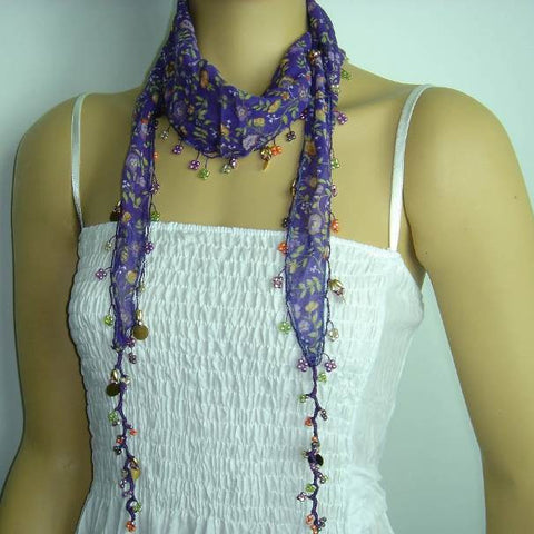 Purple Beaded Scarf Necklace with Orange Flowers Printed - Handmade Crocheted Beaded Scarf - Purple scarf bandana