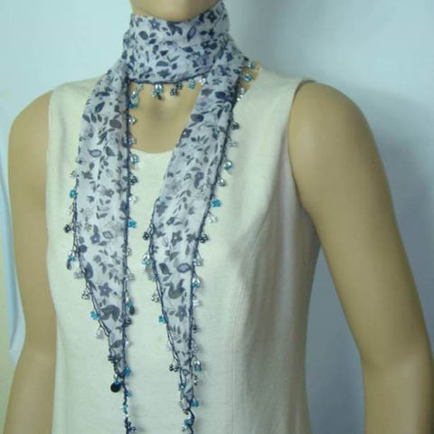 White Beaded Scarf Necklace with Navy Flowers Printed - Handmade Crocheted Beaded Scarf - White scarf bandana